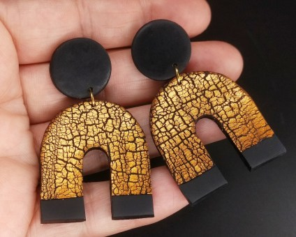 Polymer clay earrings made with a crackle effect