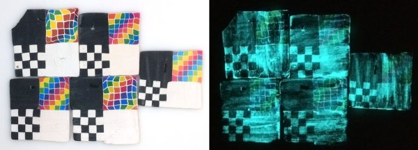 Glow in the dark paint applied to polymer clay test tiles.