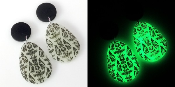 Polymer clay earrings made from glow in the dark powder and printed with Moiko Silkscreens in black.
