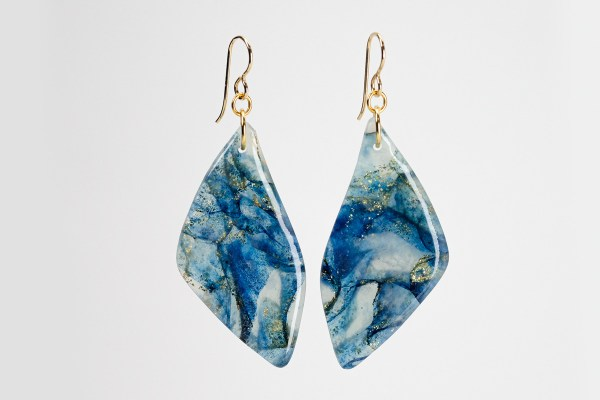 blue watercolor agate earrings with gold-filled allergy-free earwires