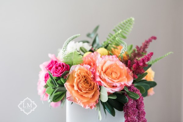 low centerpiece summer wedding pittsburgh florist floral design studio Levana Melamed Photography