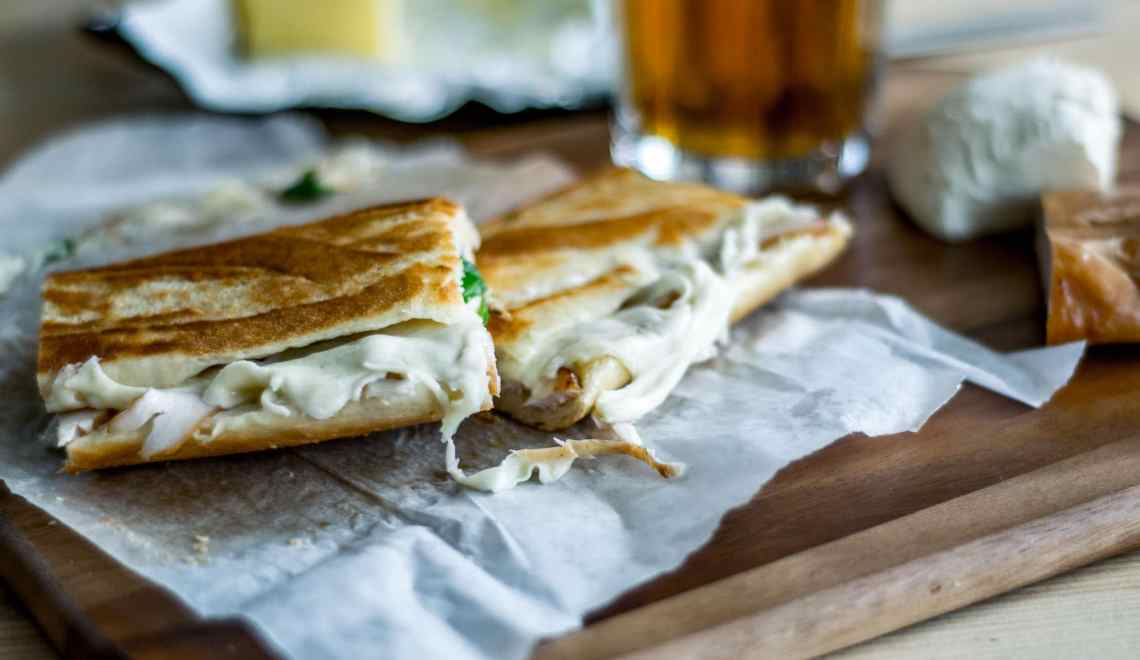 The oak smoked chicken and mozzarella pressed sandwich