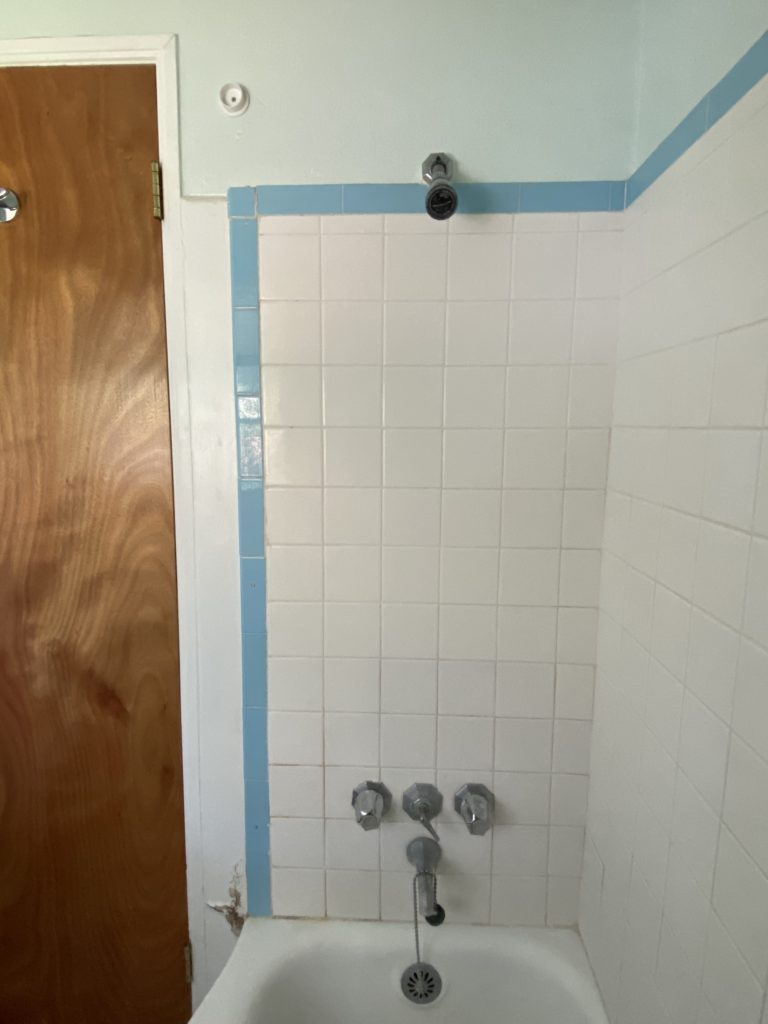 painted shower tile in our 1940 s