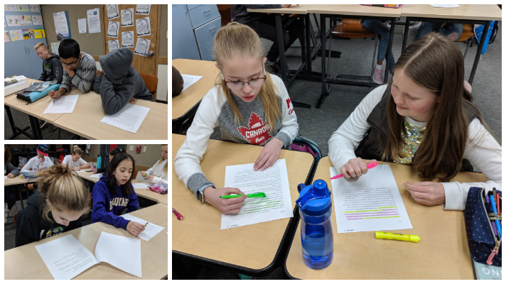 Students reading and highlighting
