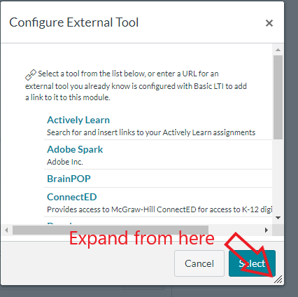 canvas external tools popup box
