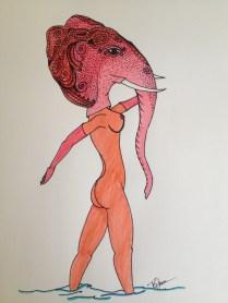 "Elephant. 2013. Bobby-james ""Kingdom Masks"" Series. Marker."