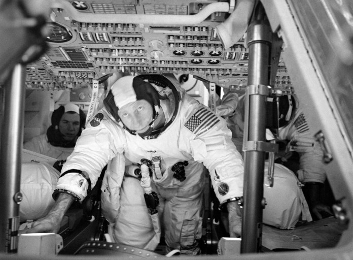 Crew in the Apollo 15 Command Module. Risk of fire required special materials. Photo: NASA