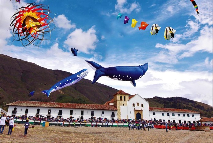 The annual kite Festival in Villa de Leyva attracts kites of all kinds and types.