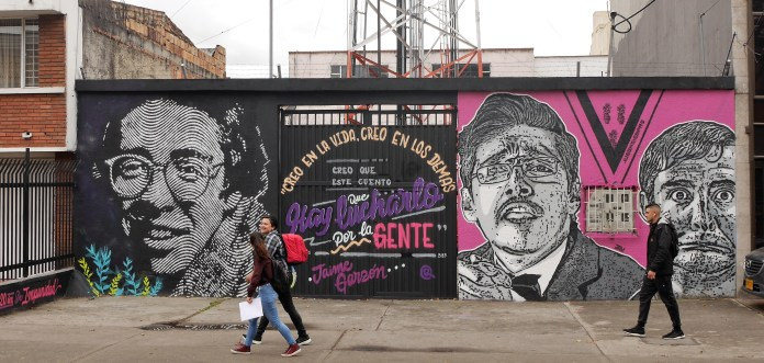 Remembering Jaime Garzón: DJ Lu mural close to his murder site on Cr 40, Bogotá. Photo: Steve Hide