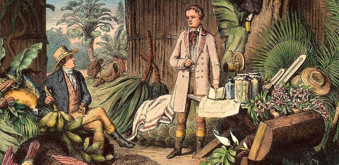 lexander von Humboldt with French botanist Aimé Bonpland in the  Orinoco, probably in 1800  - Woodcut (1870) of Otto Roth from a drawing by H. Lademann