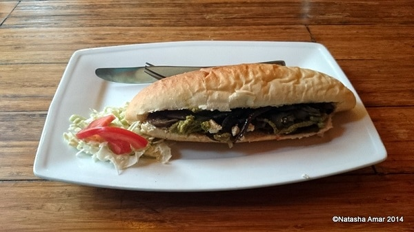 roasted vegetables baguette