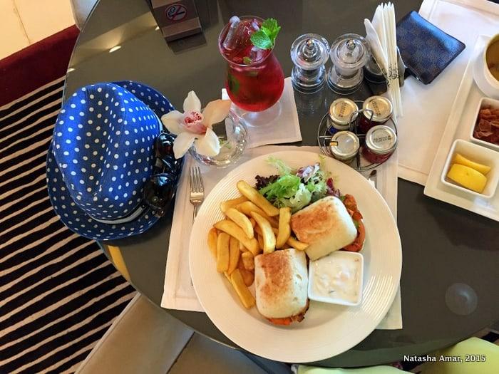 Chicken Tikka sandwich and Hibiscus Mint tea- park rotana abu dhabi