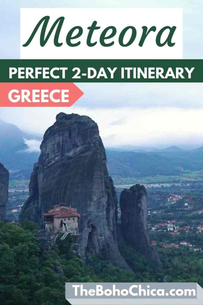 What to do in Meteora: Visit ancient monasteries perched on cliffs in Meteora and hike around beautiful trails in this region known for rock climbing. Get off-the-beaten-path in Greece. #Meteora #Greece