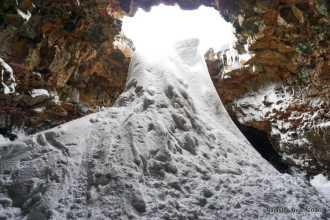 Raufarhólshellir lava-tube cave in winter