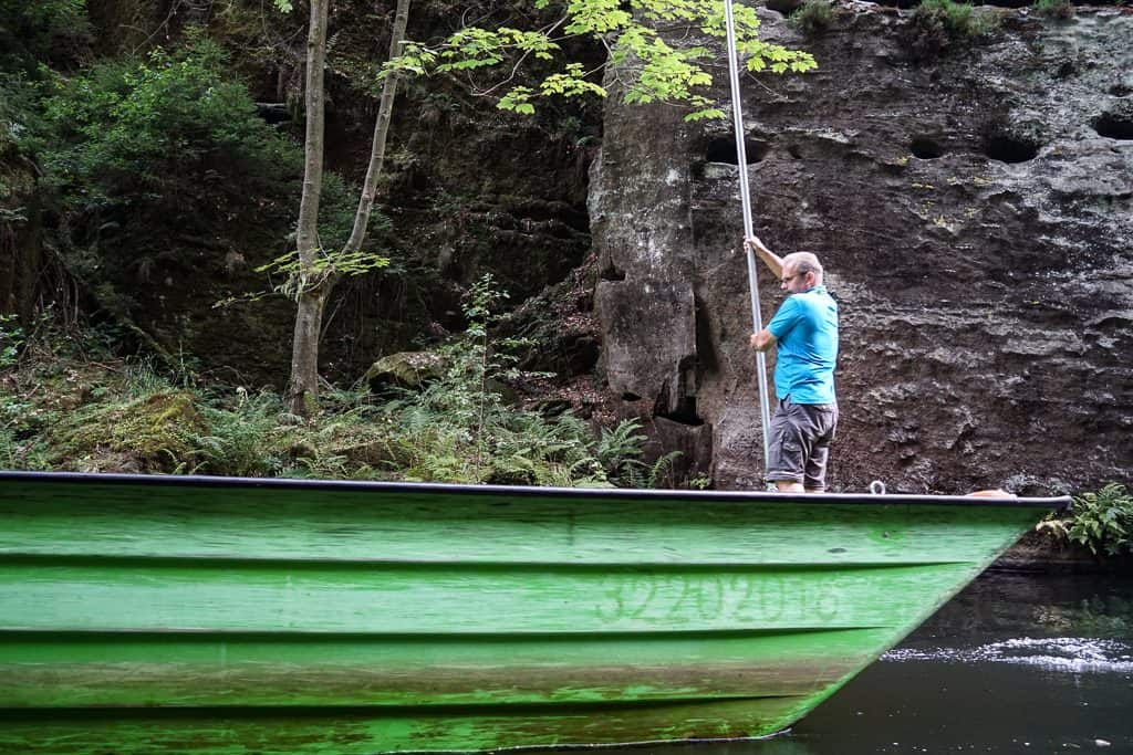 A boatman on the gorges of Kamenice in Bohemian Switzerland National park