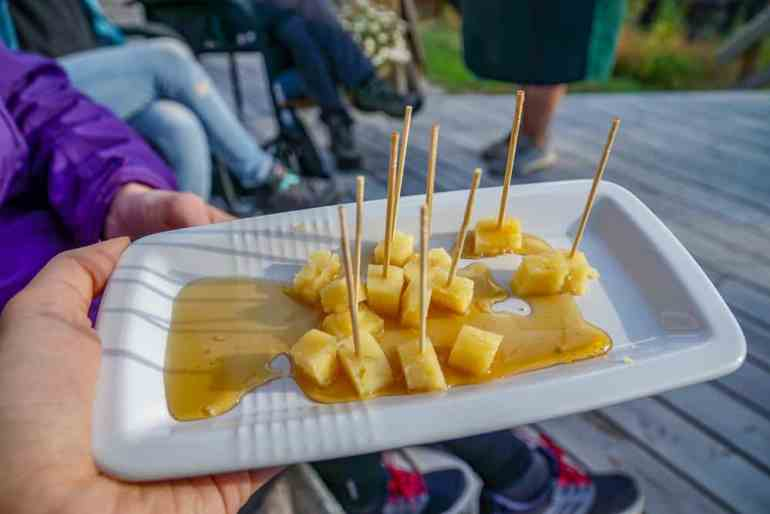 A Taste of the Arctic in Swedish Lapland: Cheese drizzled with vegan honey