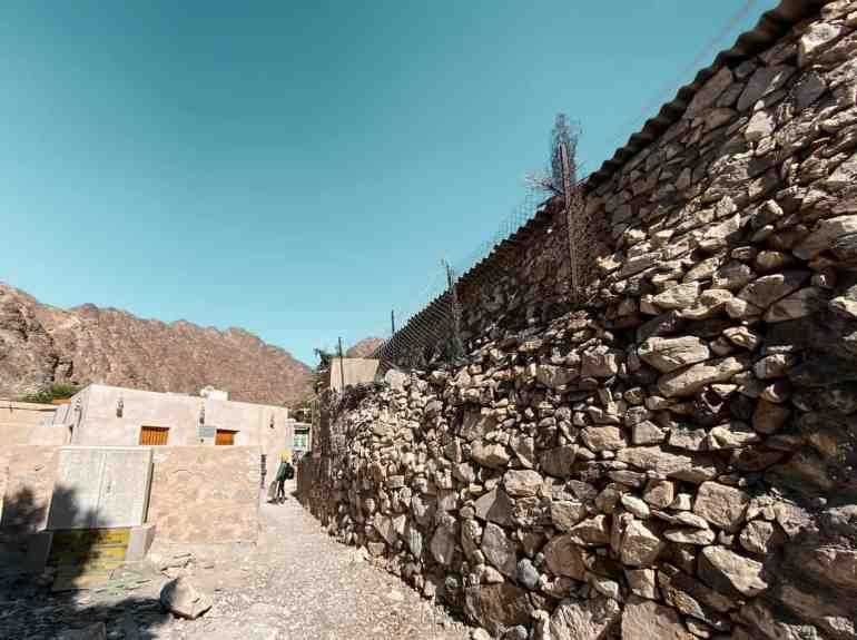 Stone walls in Wadi Shees village