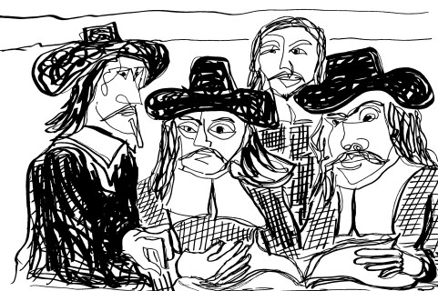 Allen Forrest   The Masters Revisited, Rembrandt Syndics of the Clothmakers Guild, ink, 2015