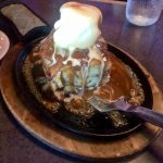 Bread pudding on sizzling skillet at Kahoots Steak and Alehouse