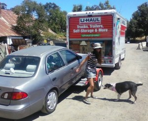 Pamela Jean, Bella and the U-Haul getting ready to go on tour. Photo by Marci Pascua.