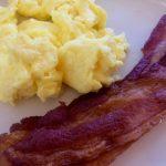 Bacon and scrambled egg closeup
