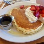 Pancakes with strawberries at The Griddle