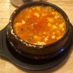 Seafood soft tofu soup bubbling at Mr. Wok