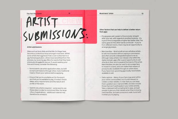 Musicians Union booklet graphic design inspiration