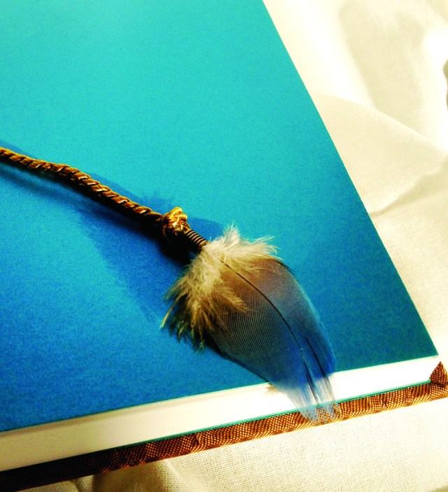 book design inspiration 0 a book with a parrot feather bookmark