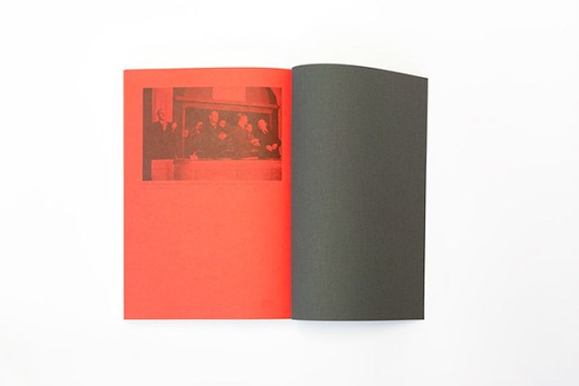 Book end page – red sheet with black print