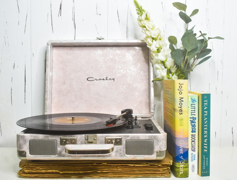 Music record player and books