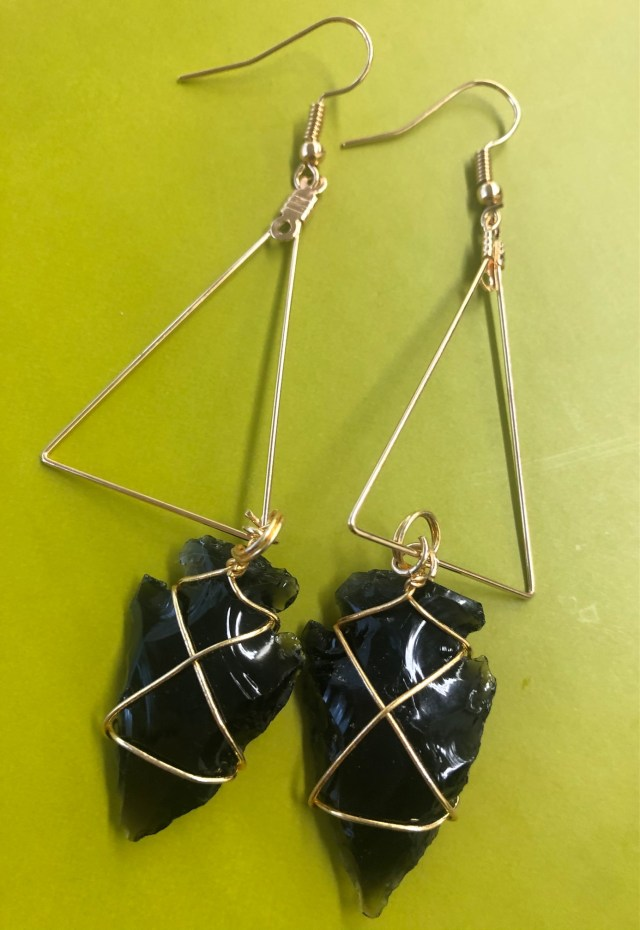 Solidarity Earrings with Obsidian Crystals