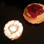 Split Victoria Spong with cream and jam