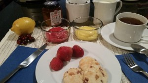 Scones and strawberries on a plate accompanied by cranberry curd, lemon curd, hot tea, cream, sugar, and honey. Place matt accented by a lemon and a group of five fresh cranberries.
