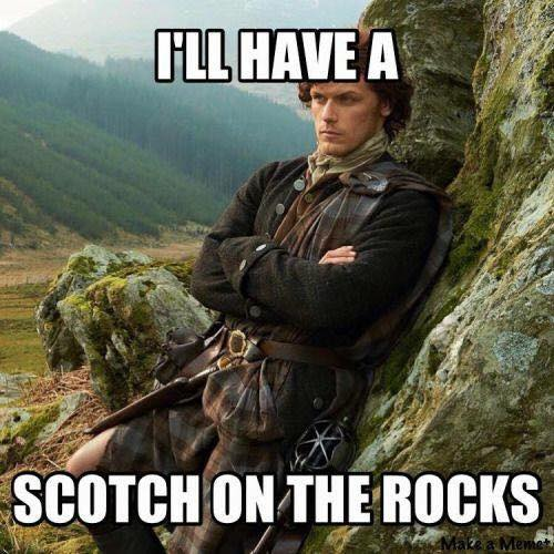 Image may contain: 1 person, meme and outdoor, text that says 'ILL HAVE A SCOTCH ON THE ROCKS'