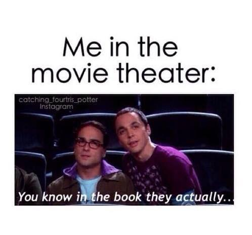 Image may contain: 2 people, meme, text that says 'Me in the movie theater: Catching fourtris potter Instagram You know in the book they actually.'