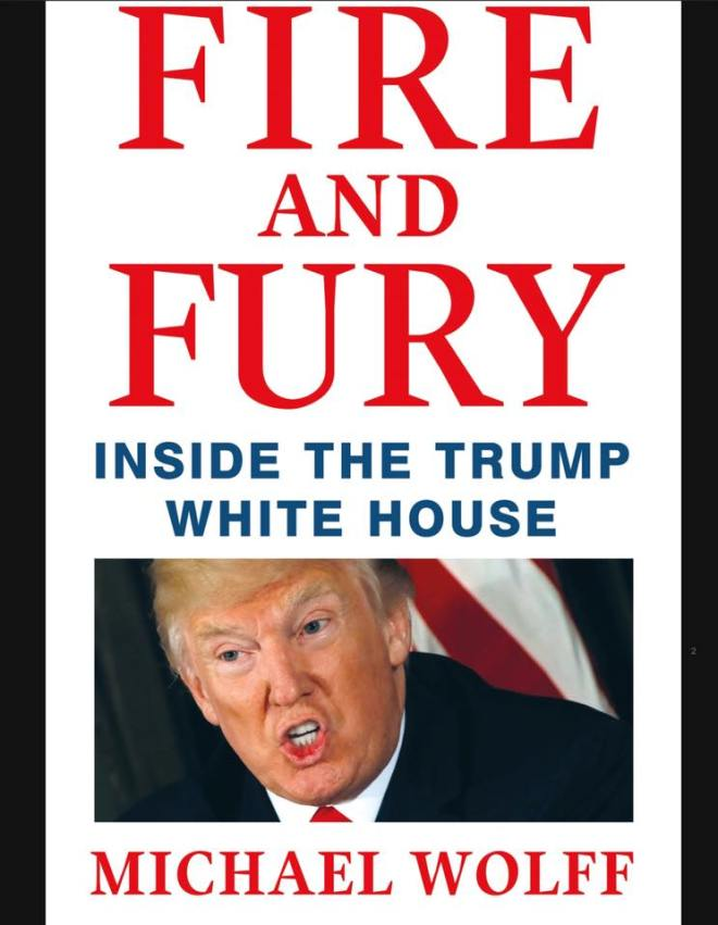 Image may contain: 1 person, text that says 'FIRE AND FURY INSIDE THE TRUMP WHITE HOUSE MICHAEL WOLFF'