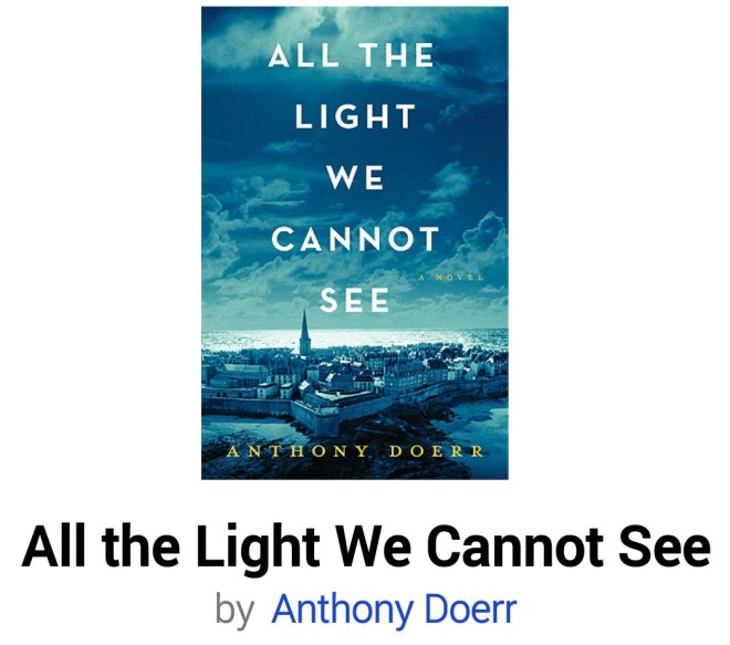 Image may contain: ocean and sky, text that says 'ALL THE LIGHT WE CANNOT SEE DOERR All the Light We Cannot See by Anthony Doerr'
