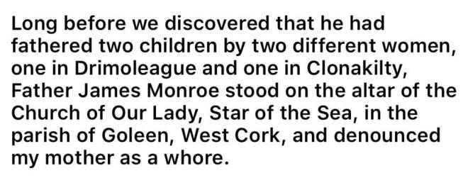 Image may contain: text that says 'Long before we discovered that he had fathered two children by two different women, one in Drimoleague and one in Clonakilty, Father James Monroe stood on the altar of the Church of Our Lady, Star of the Sea, in the parish of Goleen, West Cork, and denounced my mother as a whore.'