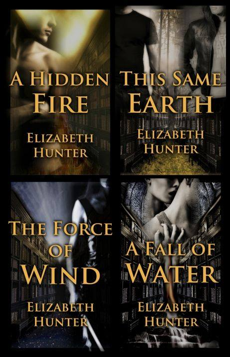 Image may contain: one or more people, text that says 'A HIDDEN THIS SAME FIRE EARTH ELIZABETH ELIZABETH HUNTER HUNTER THE FORCE OF A FALLO WIND WATER ELIZABETH ELIZABETH HUNTER HUNTER'