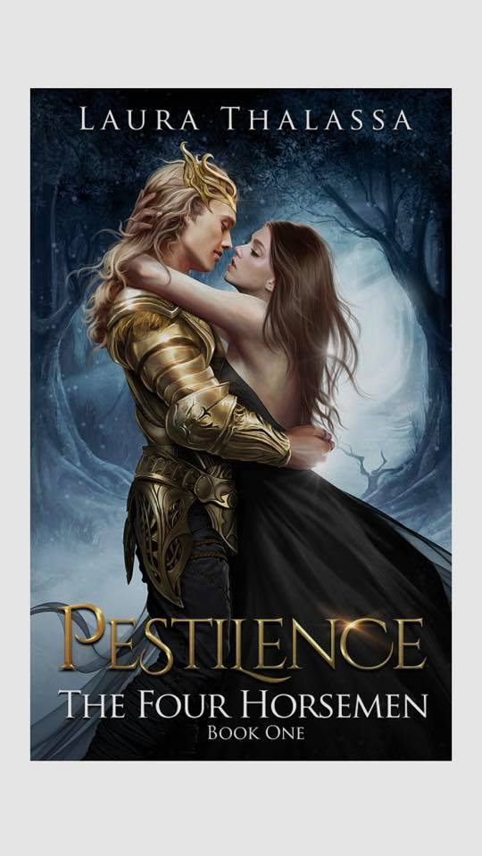 Image may contain: 2 people, text that says 'LAURA THALASSA PESTIIENCE THE FOUR HORSEMEN BOOK ONE'