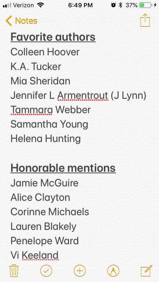 Image may contain: text that says 'Notes Favorite authors Colleen Hoover K.A. Tucker Mia Sheridan Jennifer L Armentrout (၂ Lynn) Tammara Webber Samantha Young Helena Hunting Honorable mentions Jamie McGuire Alice Clayton Corinne Michaels Lauren Blakely Penelope Ward Vi Keeland'