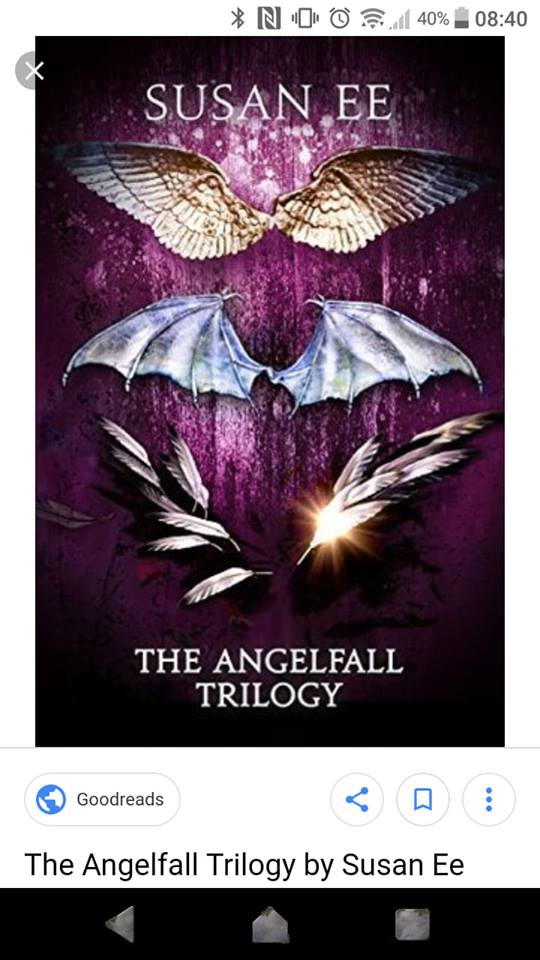 Image may contain: flower, text that says '40% 08:40 SUSAN EE THE ANGELFALL TRILOGY Goodreads The Angelfall Trilogy by Susan Ee'