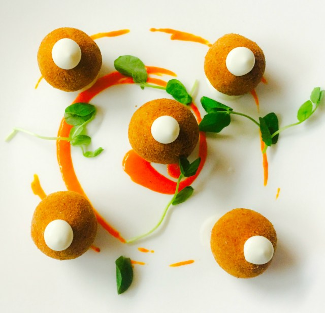 Cod Fish Croquettes: sweet piquillo pepper purée, pea tendrils, lemon aioli