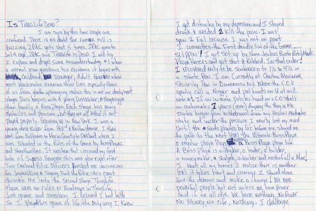 Tupac Shakur Is Thug Dead? Letter