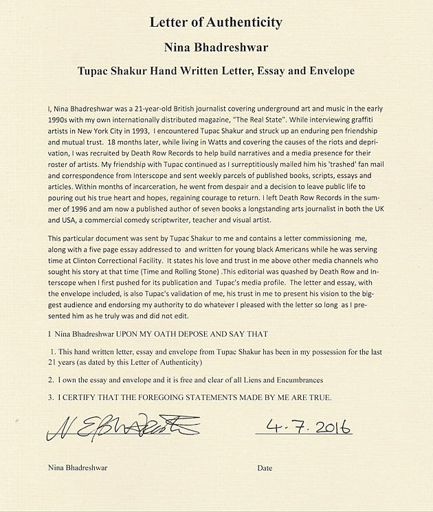Tupac Shakur - Letter of Authencity