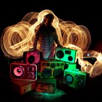 MR Simo BoomCase Light Painting Mystery Colors BoomBoxes Vintage BoomBox Suitcase Speaker UK