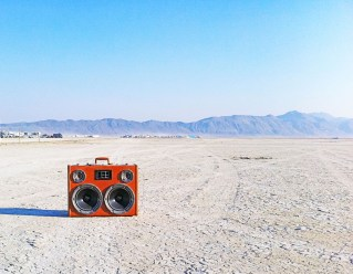 BoomBox vintage suitcase boomcase boombox burning man playa 2013