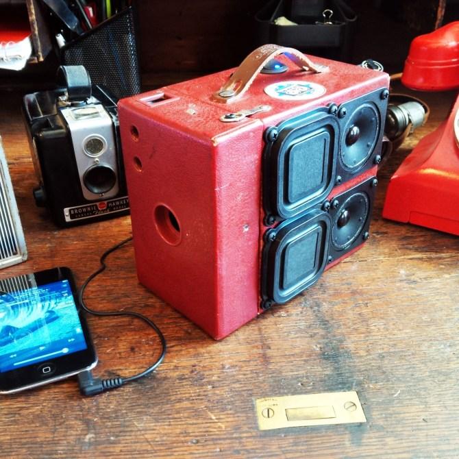 Vintage Camera SuitCase BoomBox Speakers Kodak Brownie Cam Retro Red Snake Skin Charles Bradley Soul
