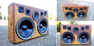 France BoomCase Two Tone Leather Vintage Suitcase BoomBox Wooden